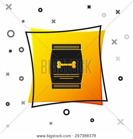 Black Bag Of Food For Pet Icon Isolated On White Background. Food For Animals. Dog Bone Sign. Pet Fo