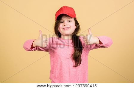 It Is A Real Pleasure. Cute Small Child Gesturing Approval Sign And Feeling Pleasure. Adorable Littl