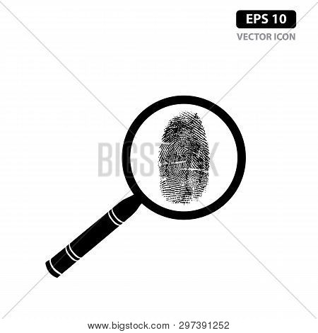 Fingerprint With Magnifying Glass Icon Vector Identification, Crime Flat Sign Symbols. Concept Of Id