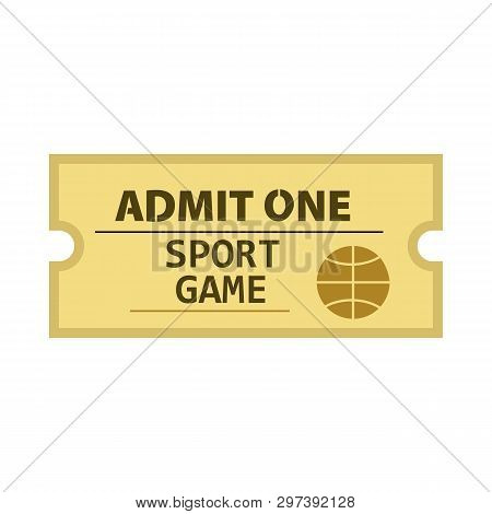 Admit One Sport Game Ticket Vector. Basketball Match, Competition, Stadium. Tickets Concept. Vector