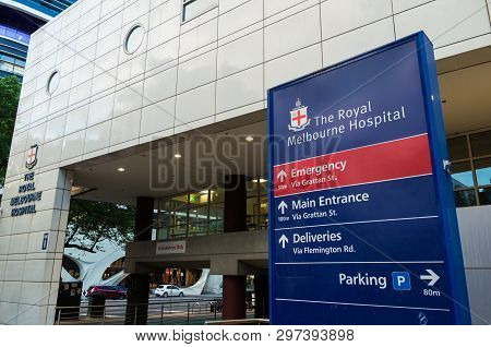 Melbourne, Australia - March 7, 2019: The Royal Melbourne Hospital Is A Major Tertiary Teaching Hosp
