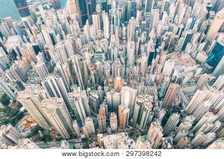 Top View Of Residential At Central District In Hong Kong China
