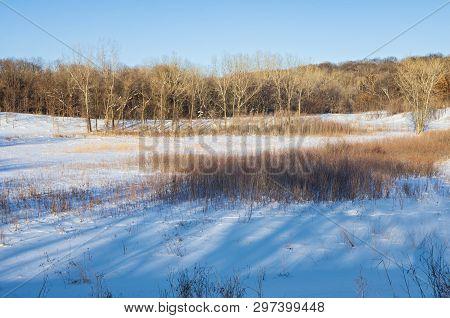 Prairie And Forest Winter Landscape Of Battle Creek Regional Park In Saint Paul Minnesota