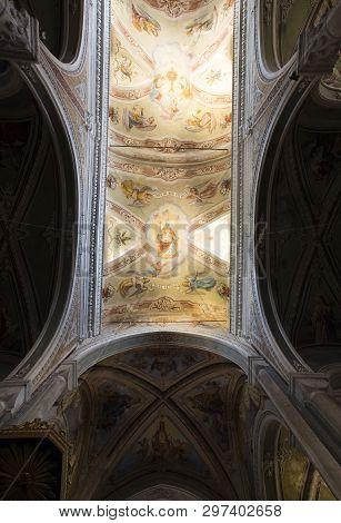 Interior And Ceiling Of The Church Of San Pietro ( Saint Peter ) In Corniglia, La Spezia, Liguria, I