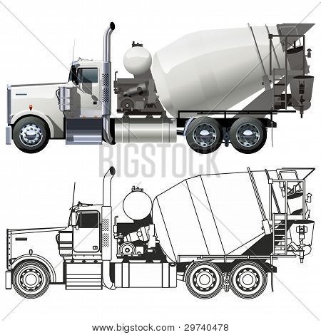Vector concrete mixer truck