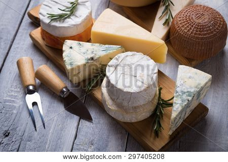 Cheese platter with blue, aged, yellow and white cheeses