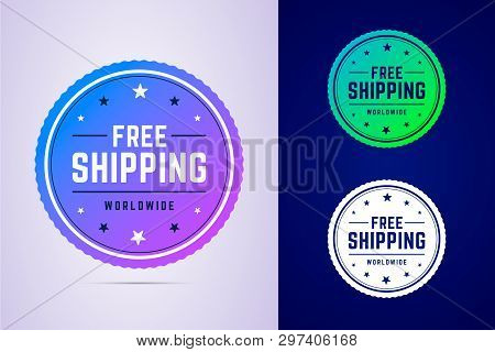 Free Shipping Label For Fast Delivery. Round Tag For Delivery Services And Online Stores. Vector Ill