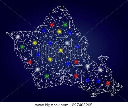 Glossy Mesh Vector Oahu Island Map With Glowing Light Spots. Mesh Model For Political Posters. Abstr