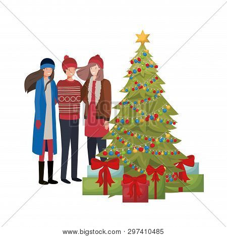 Group Of People With Christmas Tree And Gifts Vector Illustration Desing