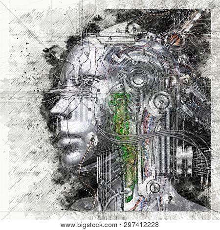 Digital Artistic Sketch, Based On A Self-created 3D Illustration Of A Female Cyborg, Model-release O