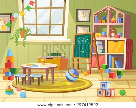 Kid Or Children, Boy Room For Education. Child Toys, Flags, Balls And Books, Chalkboard And Cubes Wi