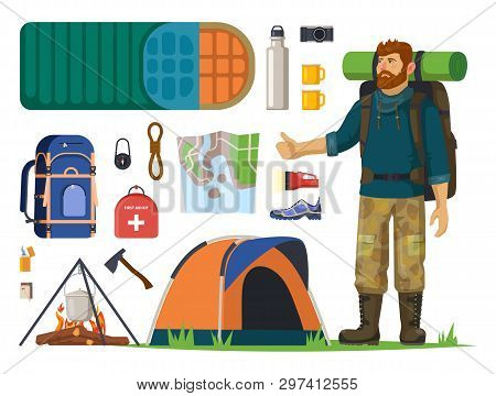 Man Tourist With Backpack And Isolated Icons For Journey Or Travel. Tent And Camp, Fire And Lighter,