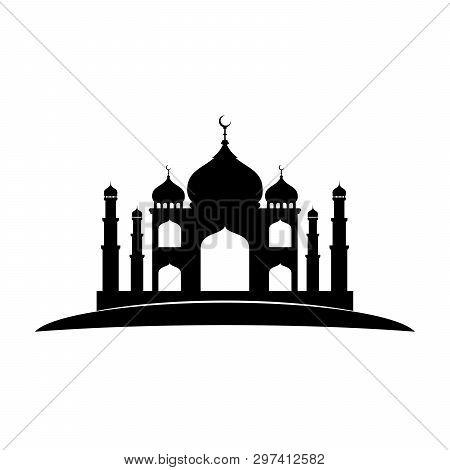 Mosque Icon Isolated Flat Black On White Background, Taj Mahal Icon Vector, Taj Mahal Indian Landmar