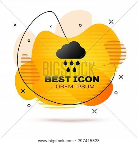 Black Cloud With Rain Icon Isolated On White Background. Rain Cloud Precipitation With Rain Drops. F