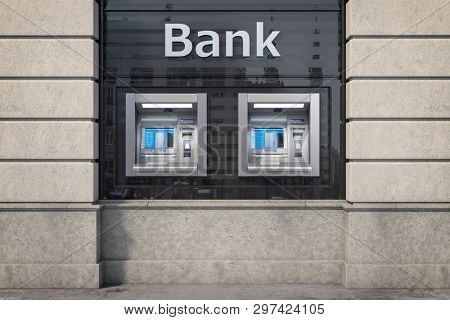 Bank ATM automatic  teller machines for money withdrawing. The station of self service automatic machines, Concept of banking. 3d illustration