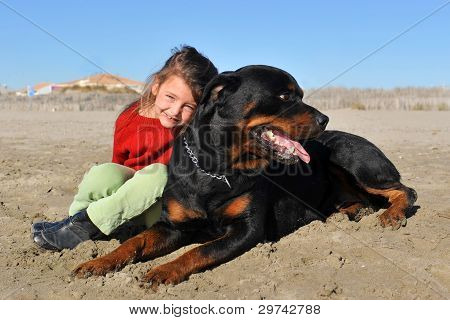 Rottweiler And Child On The Beach