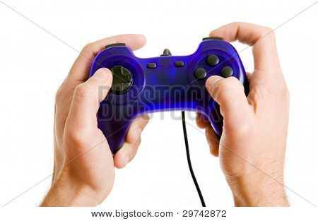video game controller in hand isolated on white background