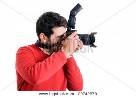 Professional photographer with camera from profile on white background