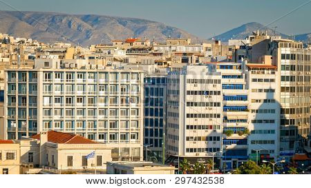 Athens, Greece - October 30th:  Apartment Buildings And Skyline In Downtown Athens, Greece On Octobe