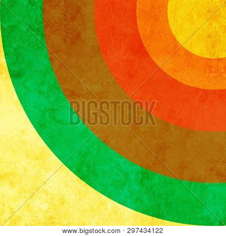 Vintage grunge background with old paper texture and circular striped pattern