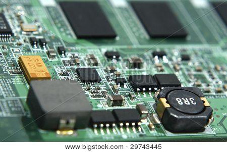 Green Laptop Motherboard In Macro