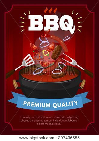 Bbq Party Design Template With Barbecue Equipment, Grilled Sausages, Steaks And Vegetables. Colorful