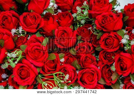 Bouquet Of Red Roses. Fresh Red Rose Flower On Rose Petal Background, Valentines Day, Love