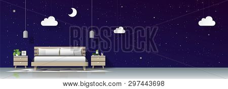 Modern Bedroom With Night Sky Wallpaper Background , Vector , Illustration