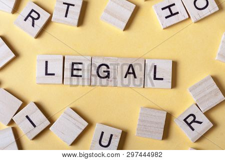 Legal Word Written On Wood Block. Woodwn Abc