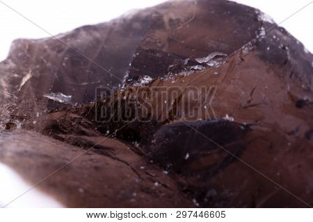 Macro Stone Mineral Smoky Quartz On A White Background Close Up
