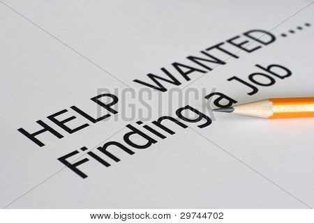 Close up of pencil on Find a job poster