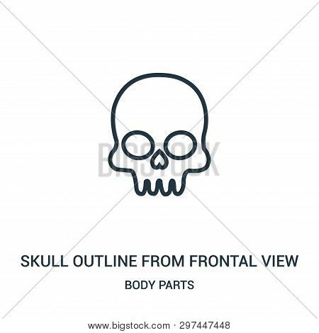 Skull Outline From Frontal View Icon Isolated On White Background From Body Parts Collection. Skull