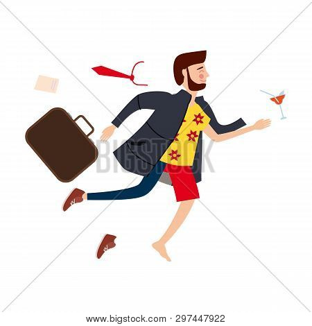 Transition To Vacation. Businessman In Business Clothes Making The Transition From A Separate Image