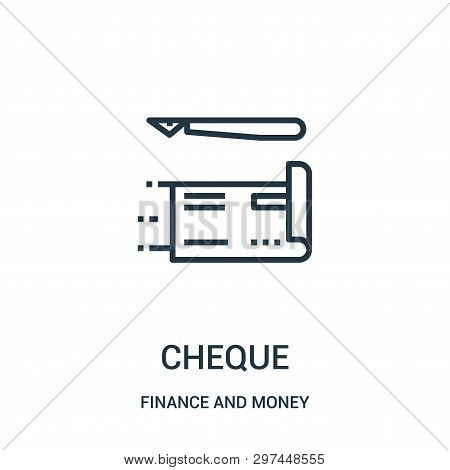 Cheque Icon Isolated On White Background From Finance And Money Collection. Cheque Icon Trendy And M