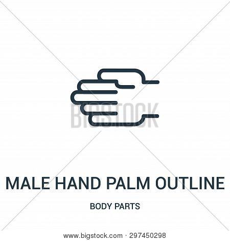Male Hand Palm Outline Icon Isolated On White Background From Body Parts Collection. Male Hand Palm
