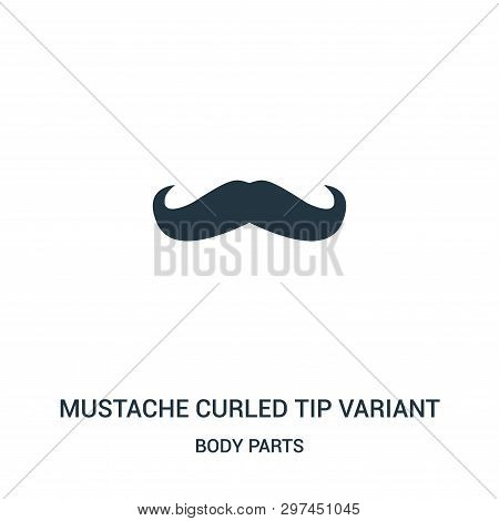 Mustache Curled Tip Variant Icon Isolated On White Background From Body Parts Collection. Mustache C