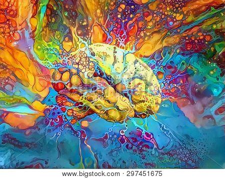 Psychedelic Brain in Vivid Colors. 3D rendering