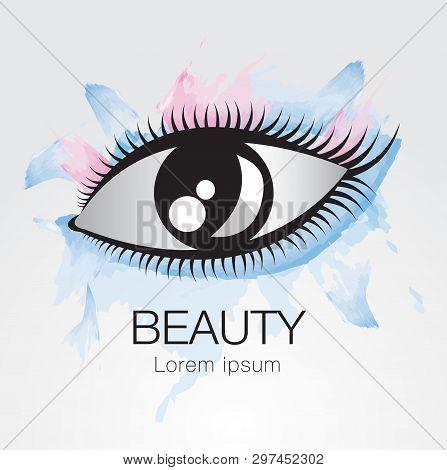 Eye Vector Icon, Logo Design For Fashion, Beauty, Cosmetics, Spa, Web Icon, Hand Drawn, Colorful Pai