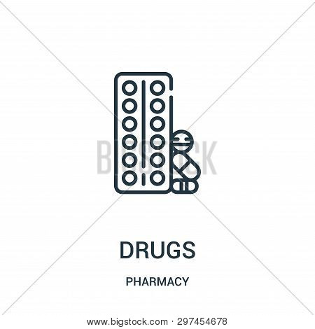 Drugs Icon Isolated On White Background From Pharmacy Collection. Drugs Icon Trendy And Modern Drugs