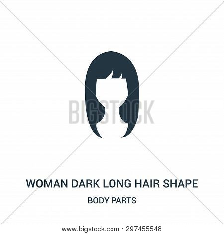 Woman Dark Long Hair Shape Icon Isolated On White Background From Body Parts Collection. Woman Dark