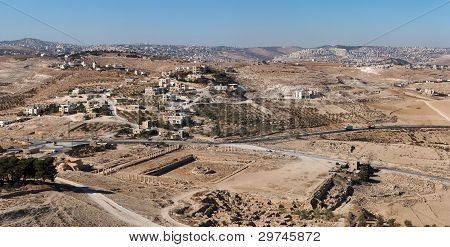 Excavations and Arab village at the place of ancient King Herod palace in Herodion poster