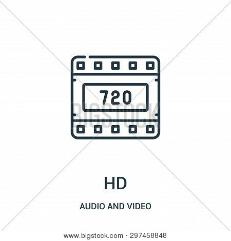 Hd Icon Isolated On White Background From Audio And Video Collection. Hd Icon Trendy And Modern Hd S