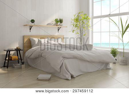 Interior light bedroom. Scandinavian style. 3D rendering