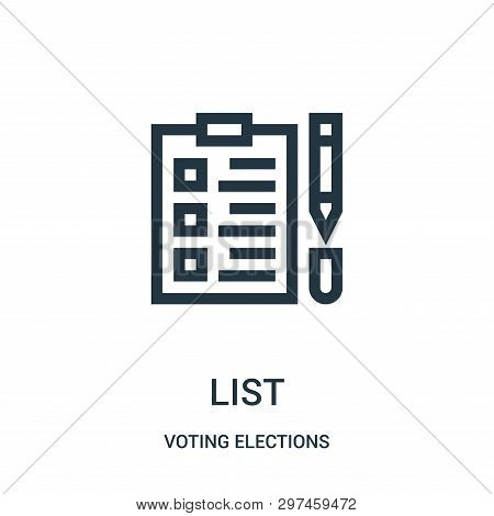 List Icon Isolated On White Background From Voting Elections Collection. List Icon Trendy And Modern