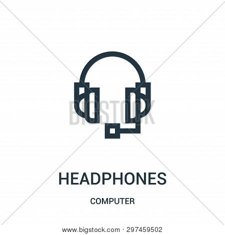 Headphones Icon Isolated On White Background From Computer Collection. Headphones Icon Trendy And Mo