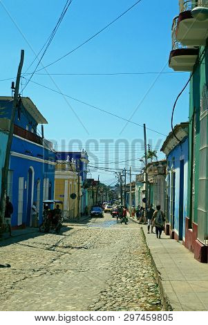 Trinidad, Cuba, February 25, 2019 : Colorful Traditional Houses In The Colonial Town Of Trinidad In