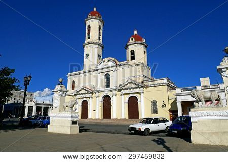Cienfuegos, Cuba, February 24, 2019 : The Cathedral Of Immaculate Conception In Cienfuegos, Cuba