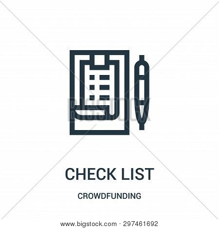 Check List Icon Isolated On White Background From Crowdfunding Collection. Check List Icon Trendy An