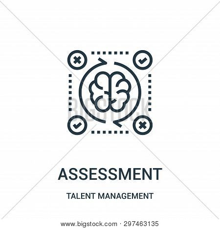 Assessment Icon Isolated On White Background From Talent Management Collection. Assessment Icon Tren