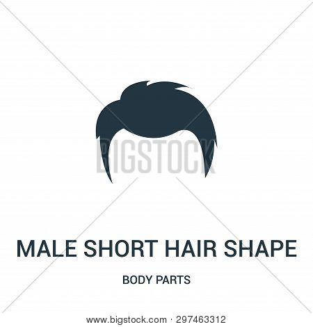 Male Short Hair Shape Icon Isolated On White Background From Body Parts Collection. Male Short Hair